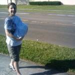 Babywearing and nursing while walking home 1 month old 2010-04-03