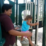 Daddy and daughter at the park