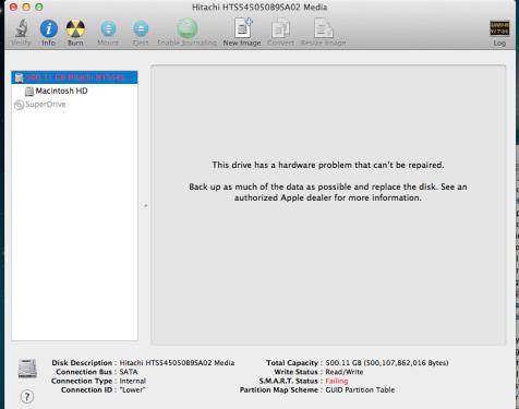 mac mini  hd failing